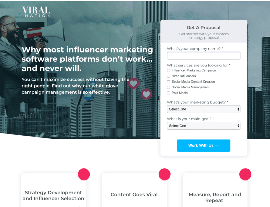 Example of strong landing page that can increase B2B lead generation.