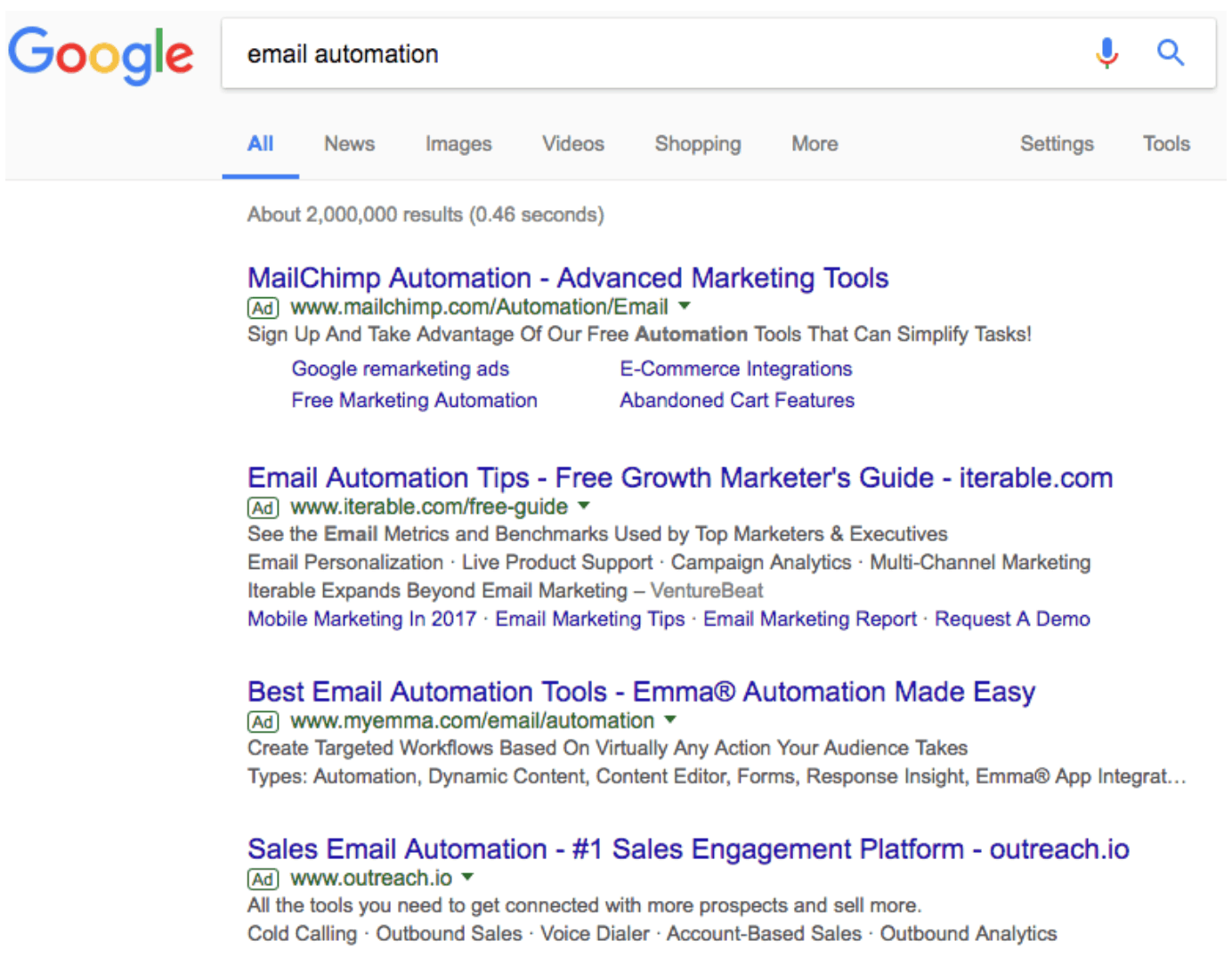 A Google SERP for the query email automation to explore marketing ideas.