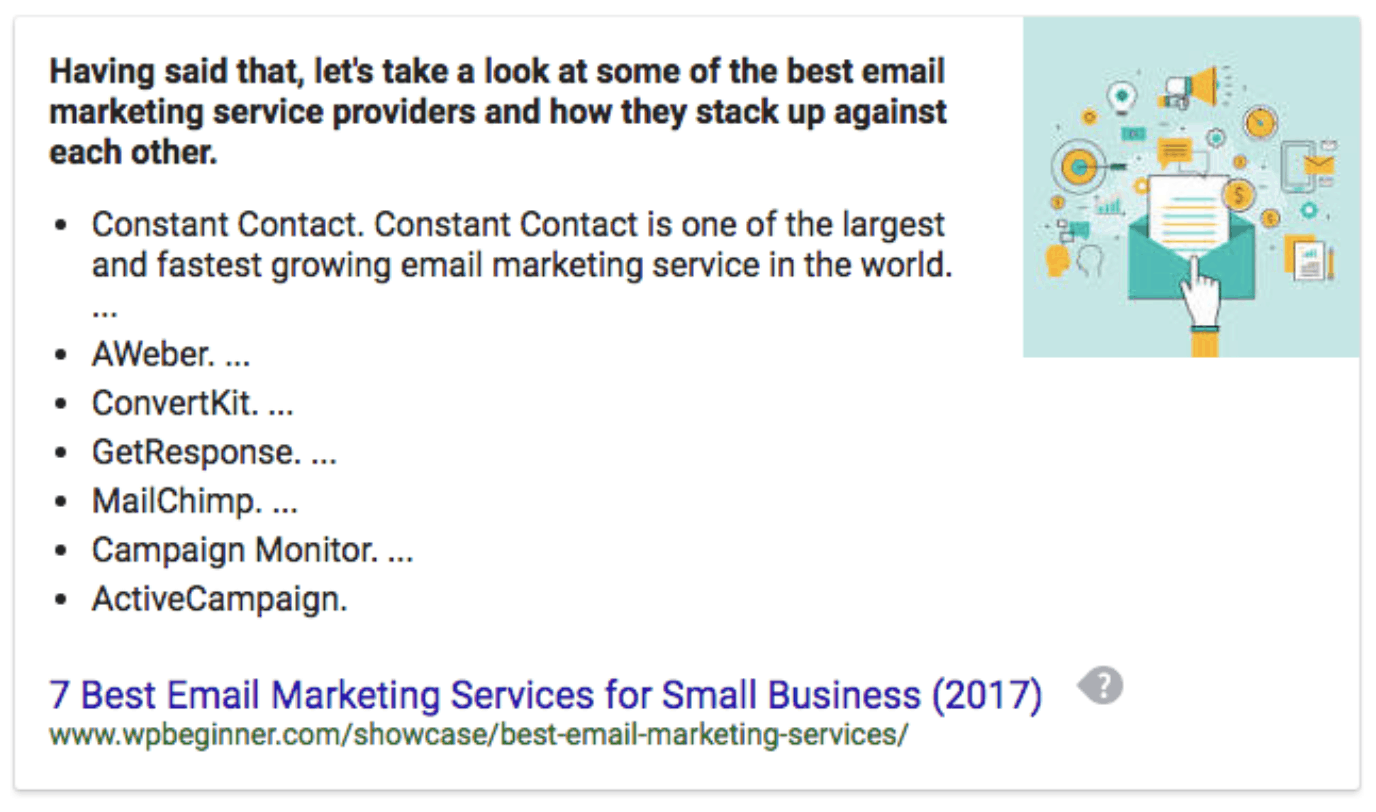 A Google featured snippet discussing email marketing services is a well sought after marketing idea.