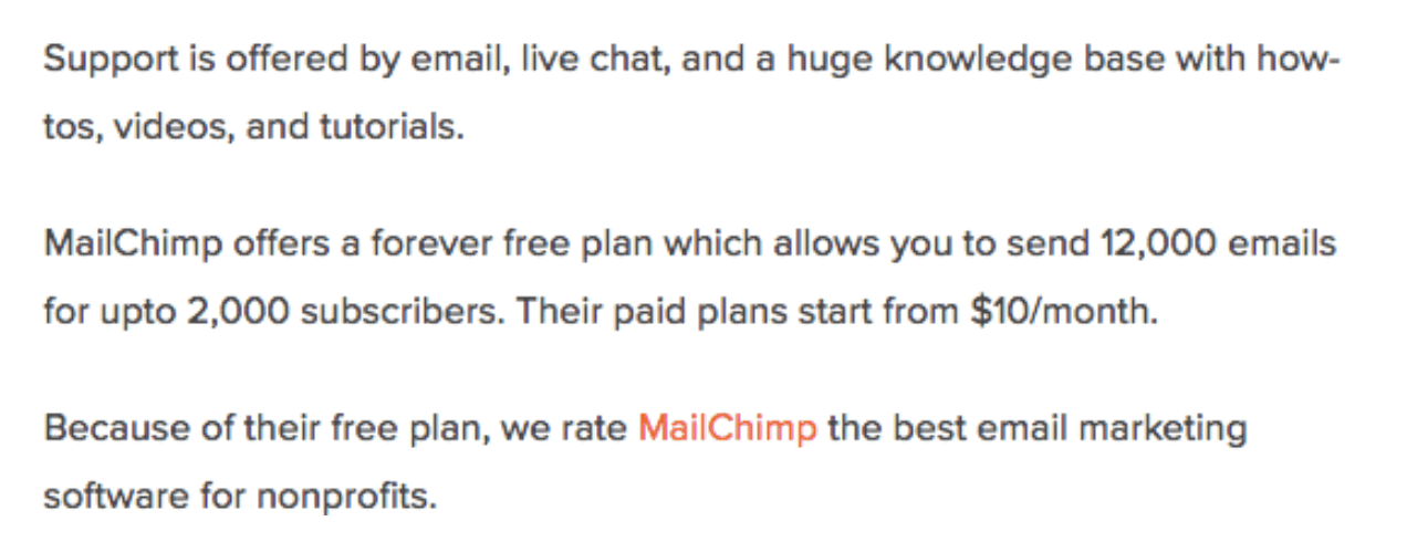 Supporting a live chat feature is a marketing idea that Mailchimp offers.
