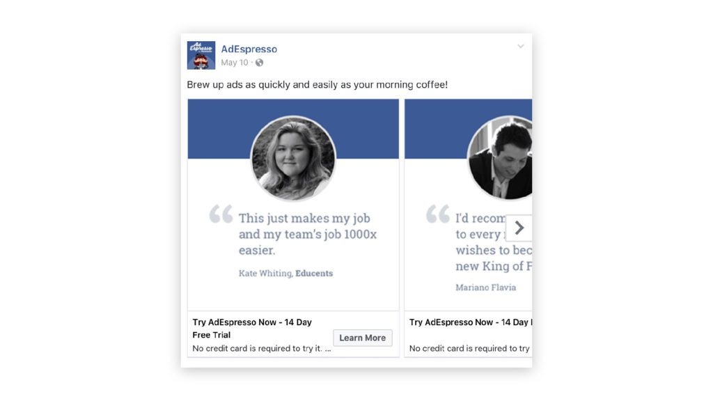 using customer testimonials in facebook ads
