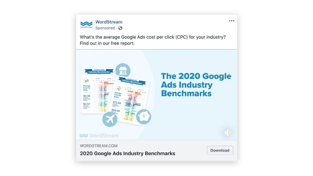 wordstream example of a b2b facebook ad with a lead magnet