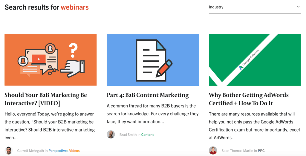 Example of webinar topics to enhance content marketing strategy.