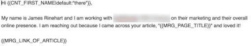 Personal email example that increased email outreach link building success.