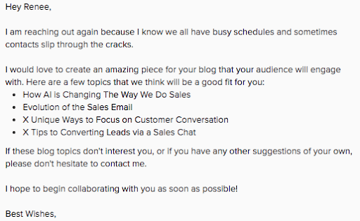 Send out follow ups to enhance email outreach link building.