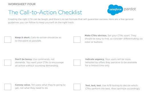 Screenshot of Salesforce CTA checklist to enhance B2B marketing strategies.