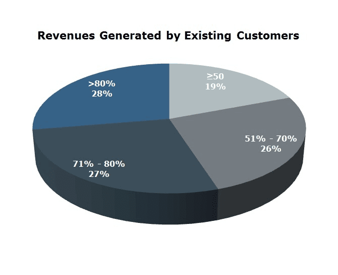 Image showing pie chart of revenues generated by existing customers.