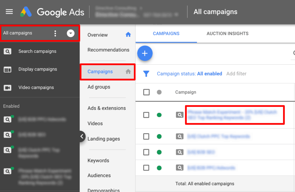 Screenshot showing how to set audience in Google Ads.