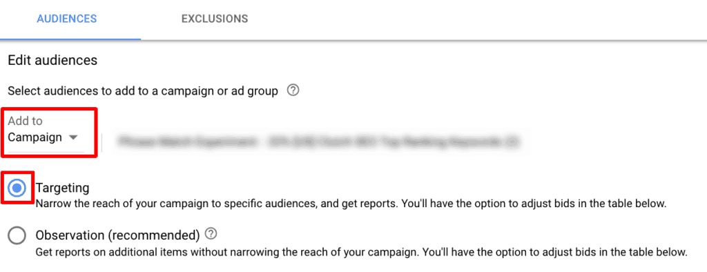 Screenshot of step 4 of setting up audiences in Google Ads.