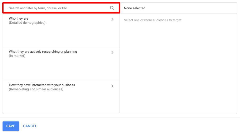 Screenshot of step 5 of setting up audiences in Google Ads.
