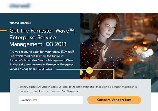 Example of Forrester Wave Analyst Report used as part of a strong database marketing tactic.