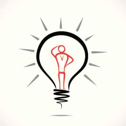 A logo of a man inside of a light bulb.