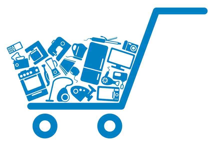 A shopping cart logo
