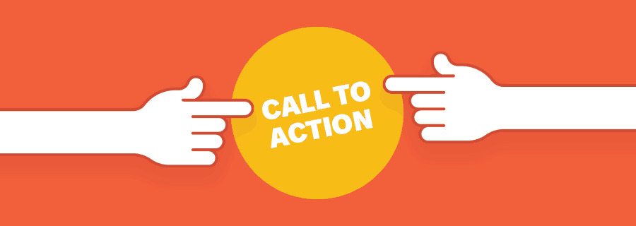Two fingers pointing towards a button that says call to action.