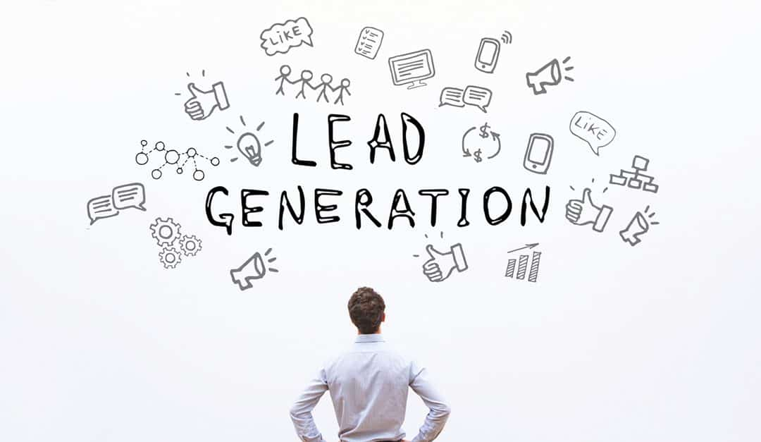 picture of a person looking at a sign saying lead generation
