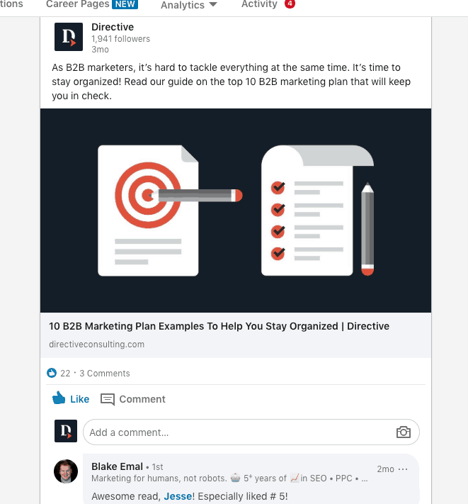 Screenshot of LinkedIn post where content marketing is published for Directive's followers to see.