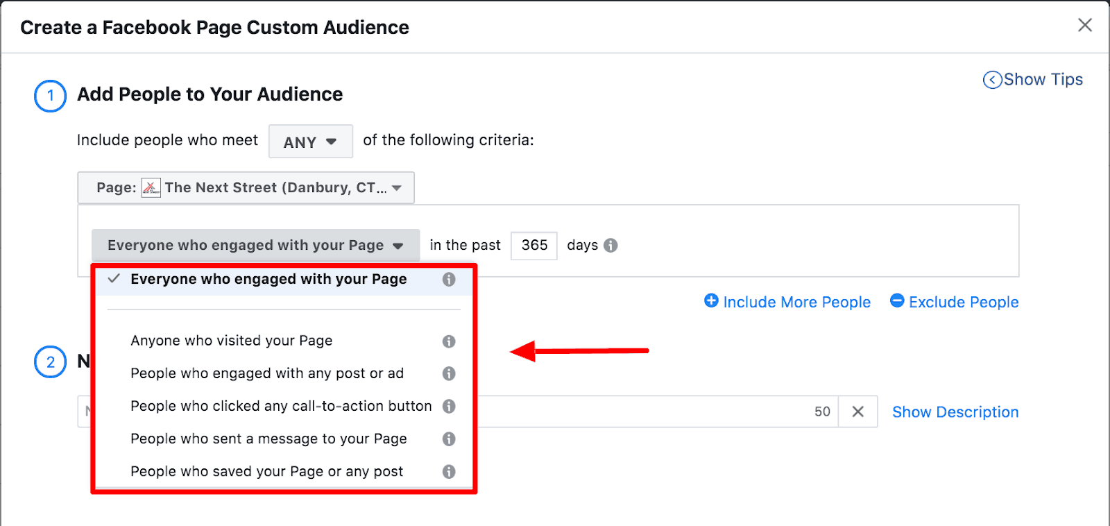 Screenshot showing how to create a Facebook Page custom audience.