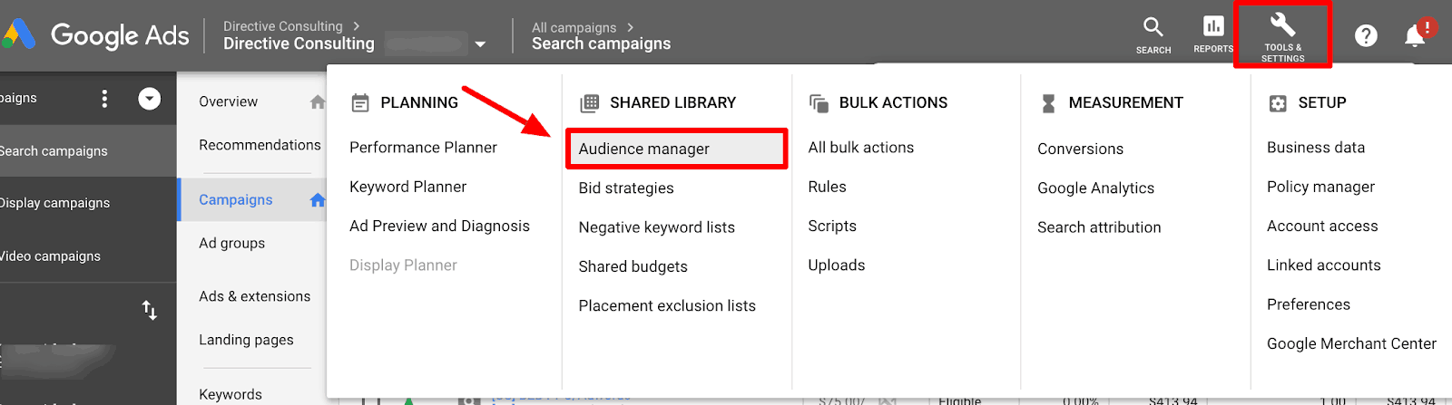 Screenshot showing how to start creating similar audiences.