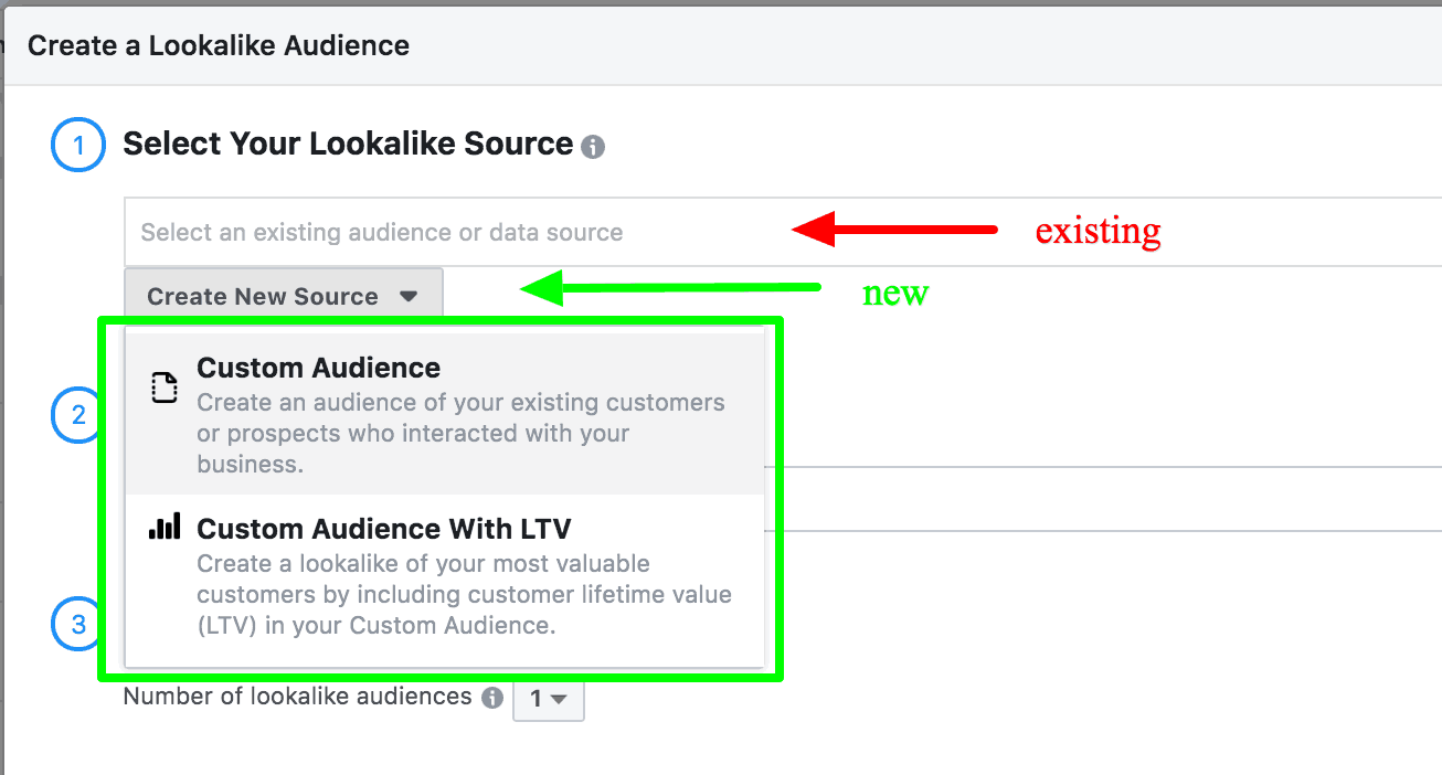 Screenshot of how to create a lookalike audience in Facebook.