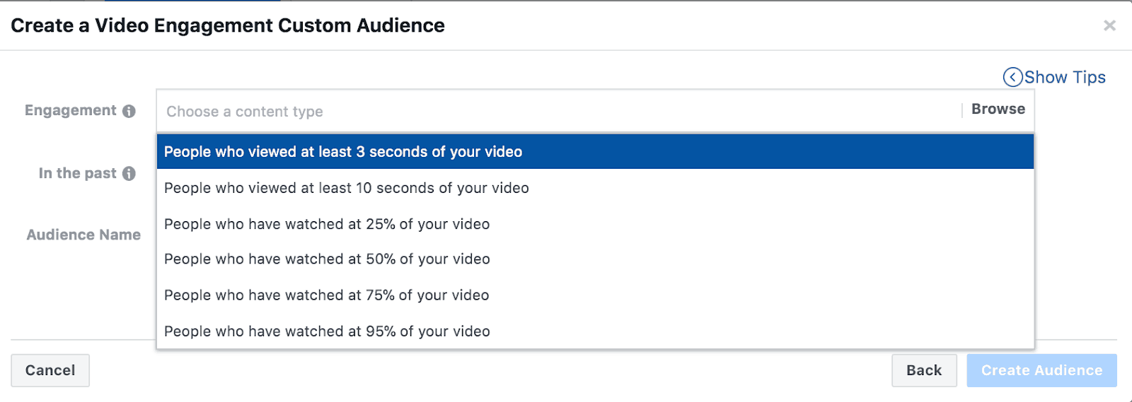 Screenshot showing how to create a video engagement custom audience in Facebook.