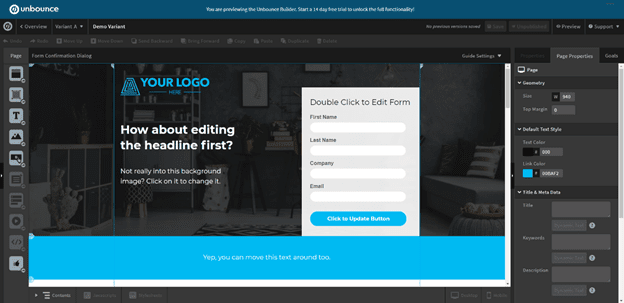 unbounce ui example