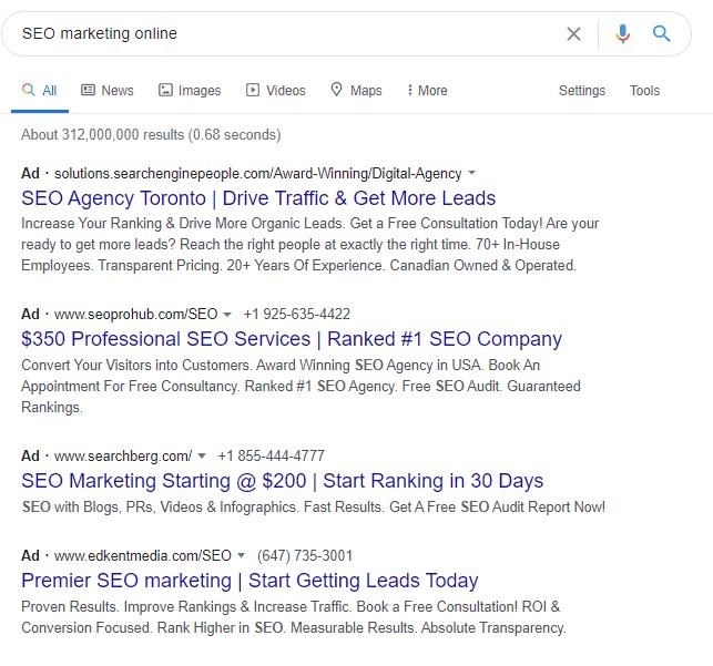 seo marketing serp example