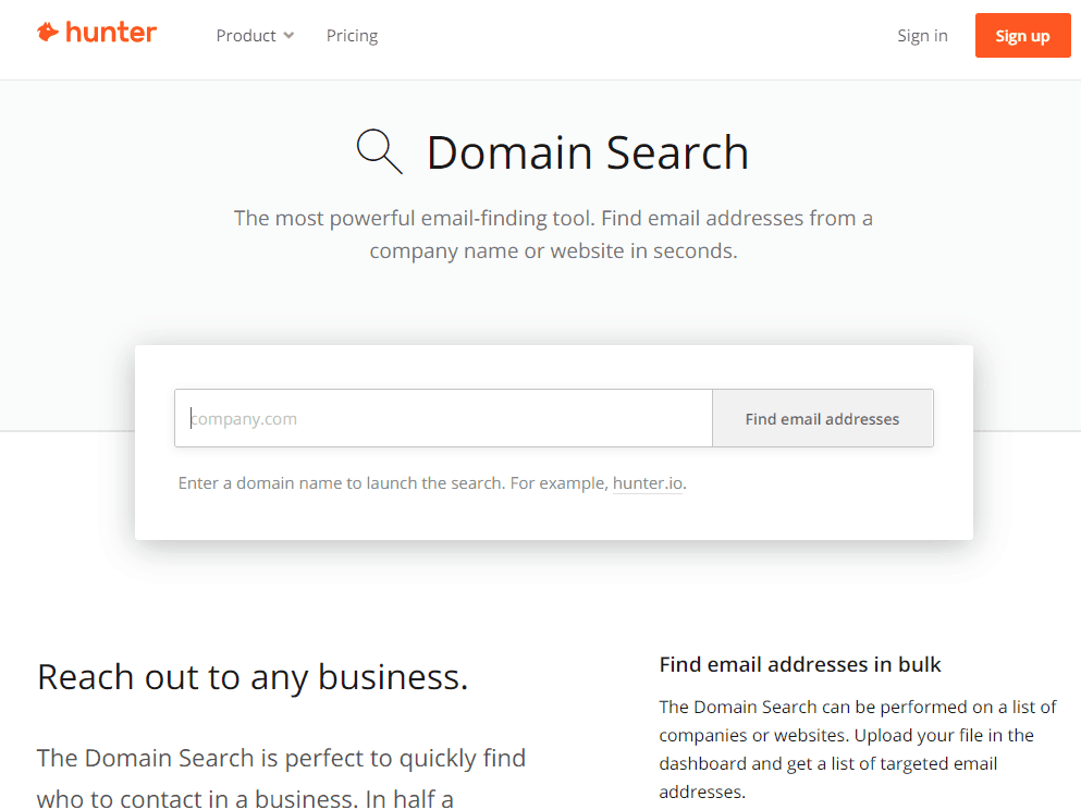 hunterio free link building tool