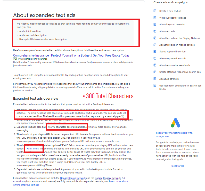 google search ad characters