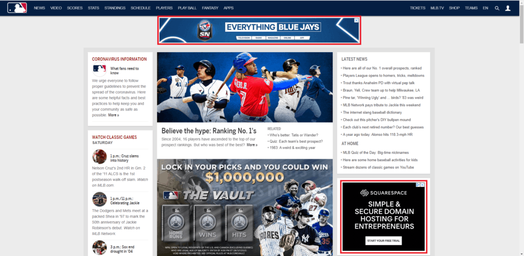 display ad preview sports