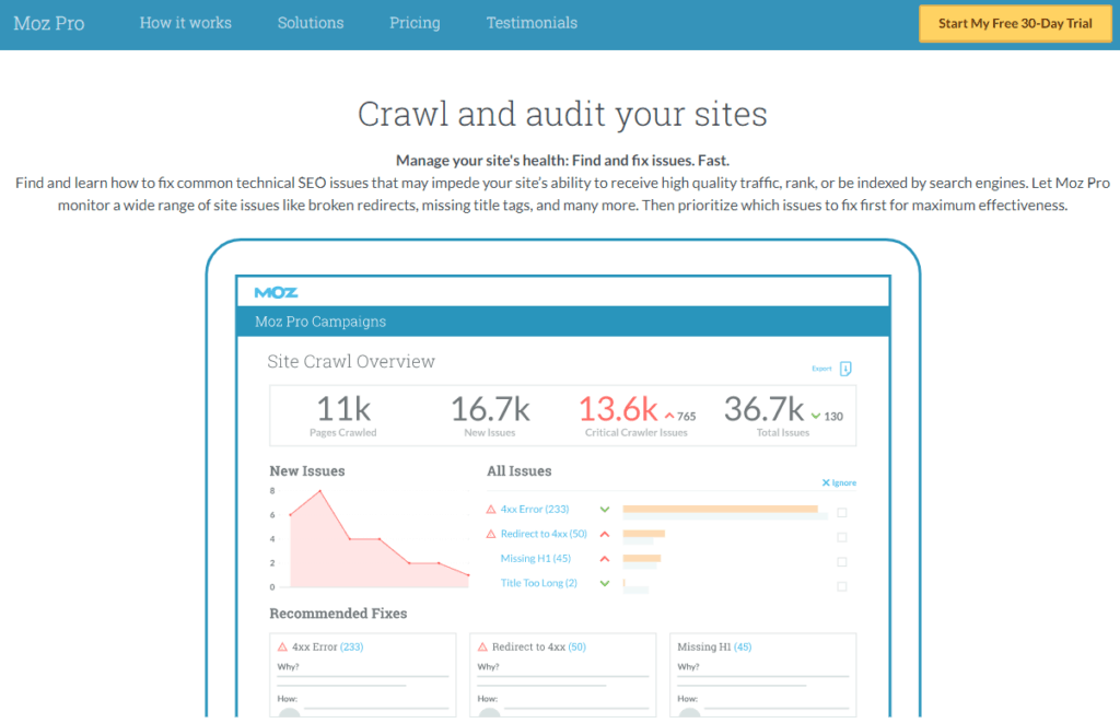 moz technical seo audit tool