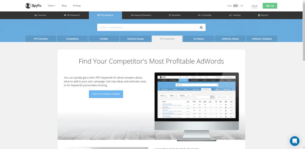 spyfu ppc keyword research tool