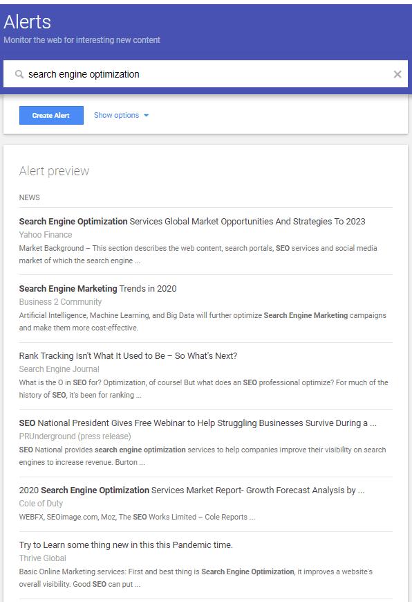 google alerts free link building tool