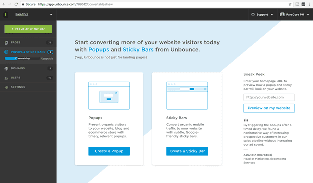 unbounce popups example