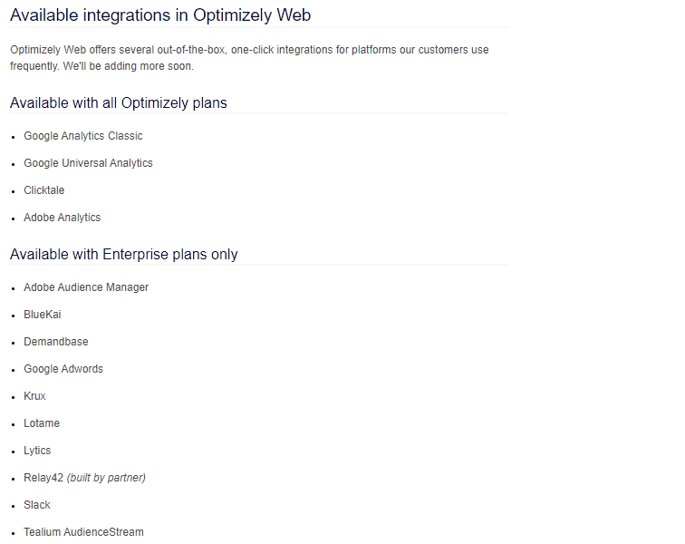 optimizely integrations