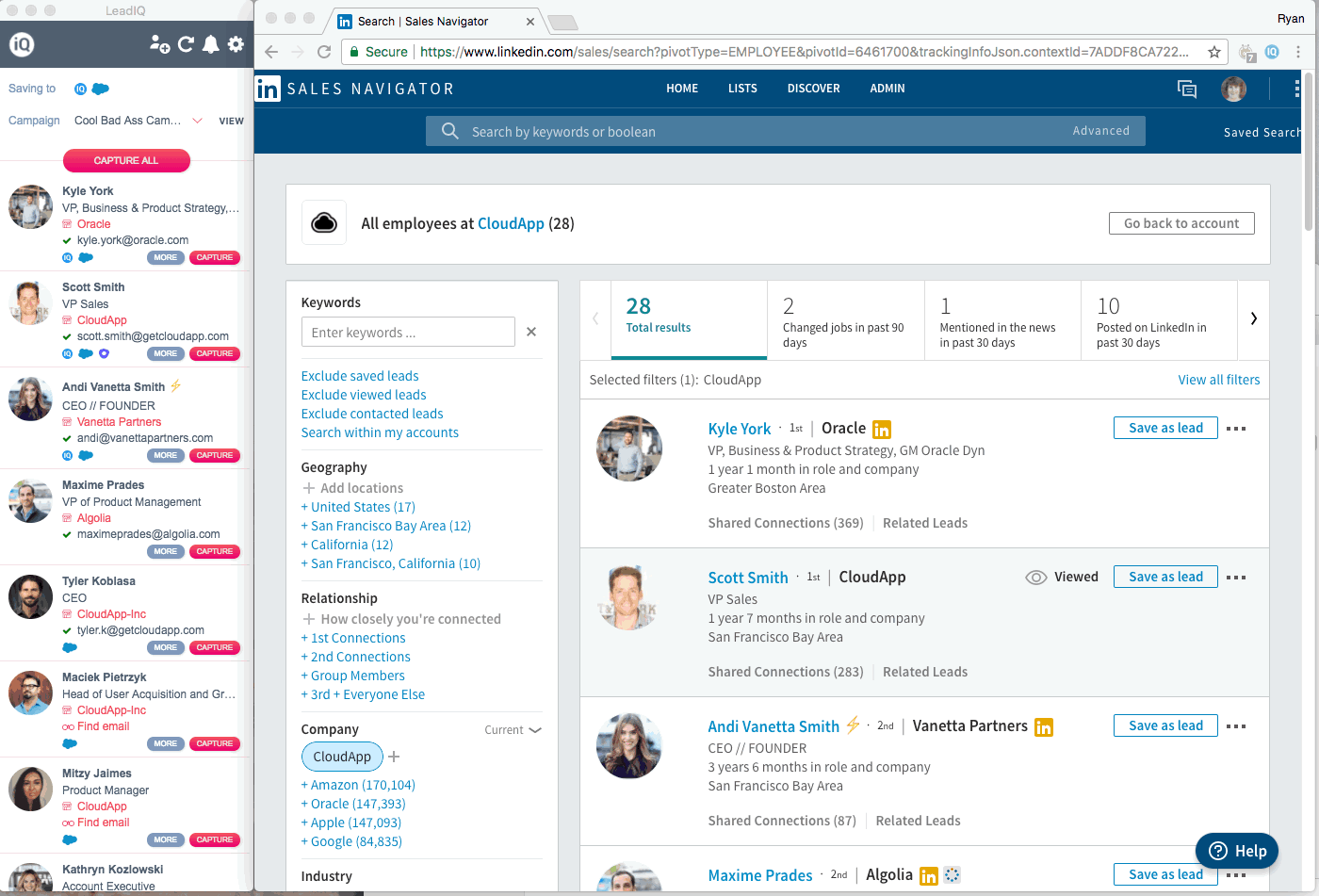LinkedIn Sales Navigator can be a helpful tool to find the right contacts you're looking for.