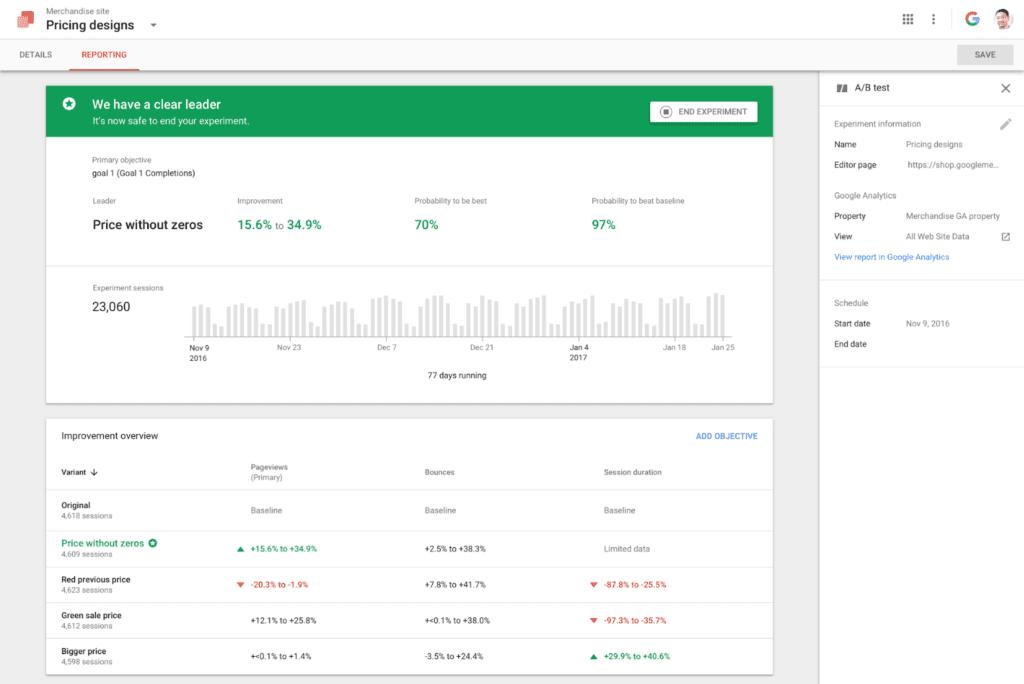 google optimize ab testing tool