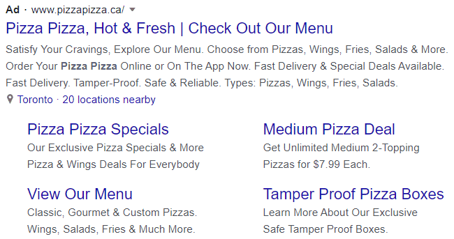 pizza google text ad example