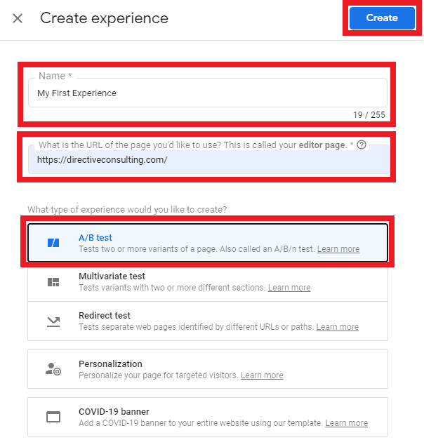 google optimize experience