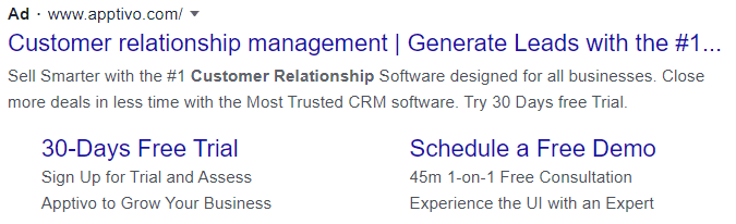 crm google text ad example