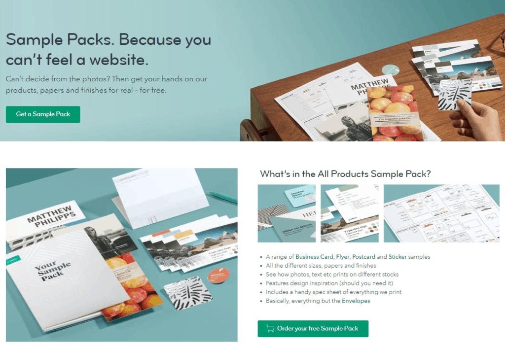 free sample pack cta