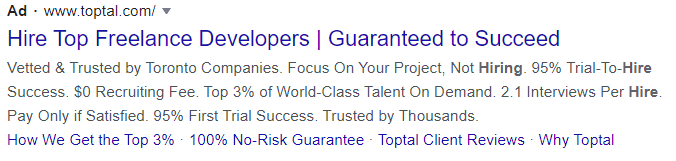 hiring google text ad example