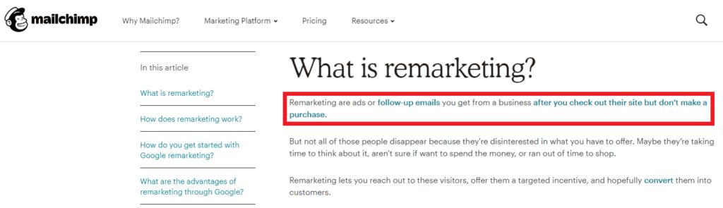 mailchimp remarketing definition