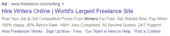 freelancer google text ad example
