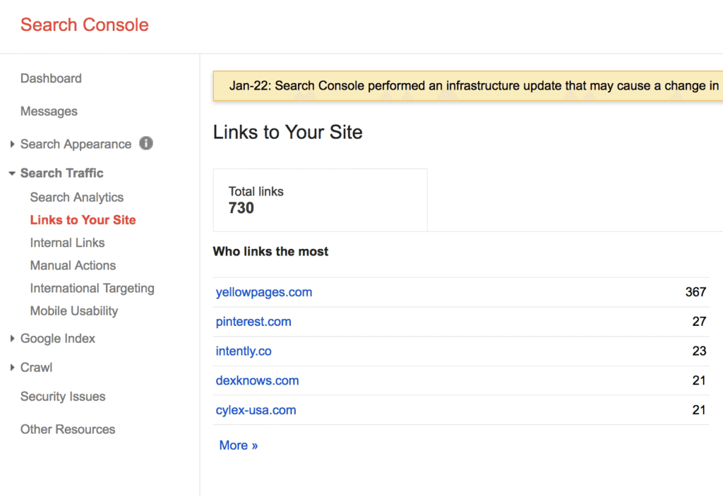 google search console backlink checker