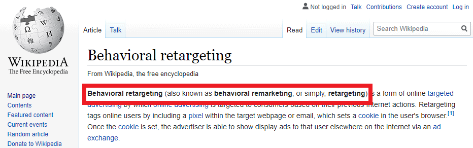 wikipedia remarketing meaning