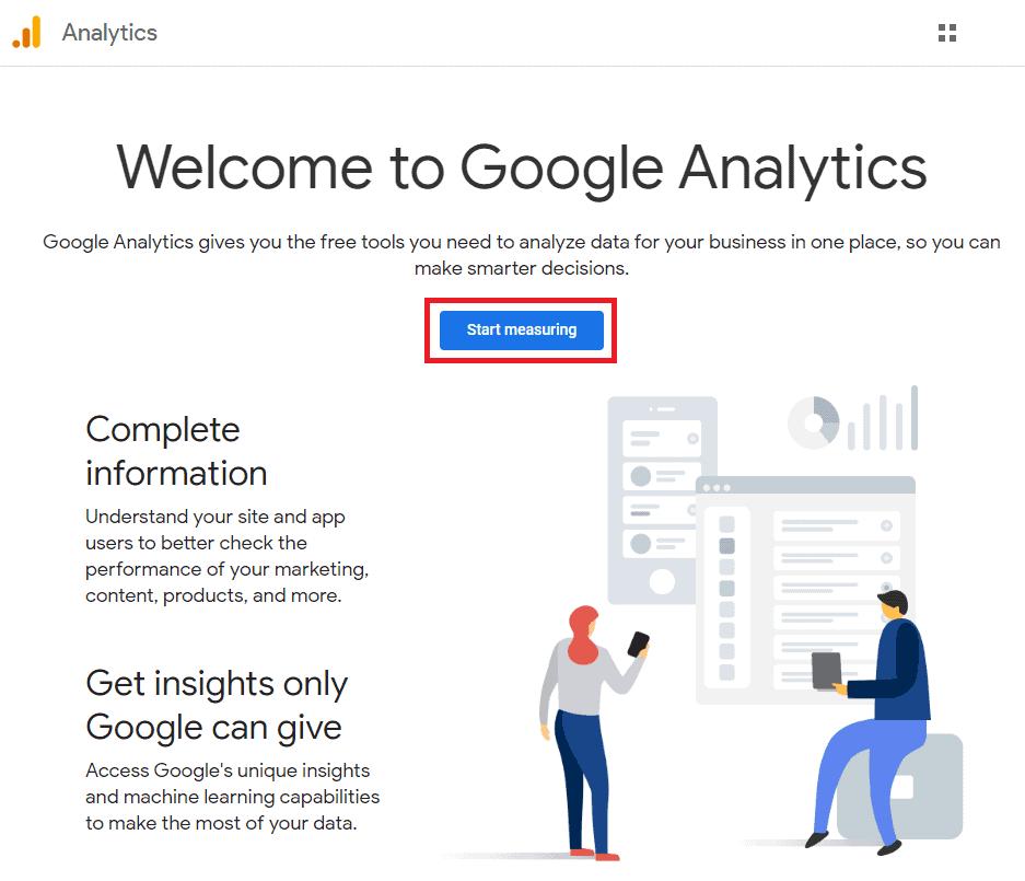 google analytics start