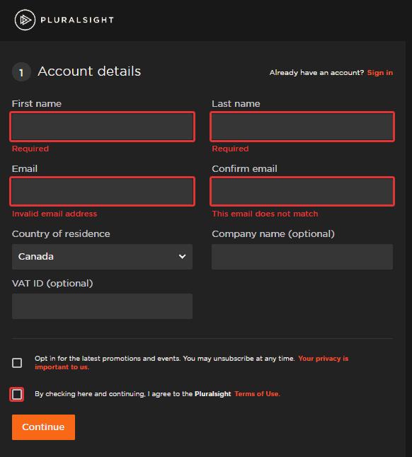 form error message