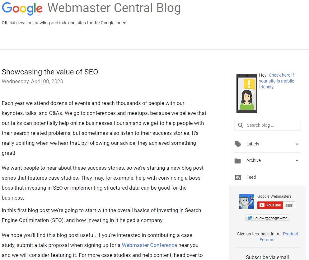 google webmaster seo blog