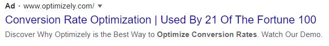 cro google text ad example