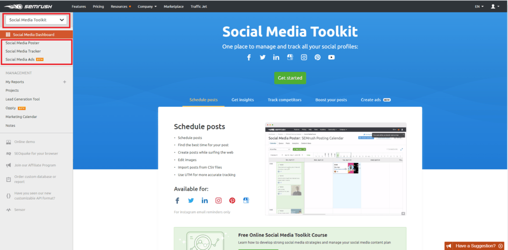 semrush social media toolkit